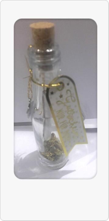 Gutschein im Glas mit Grußanhänger 1Flasche Text/Motiv sortiert