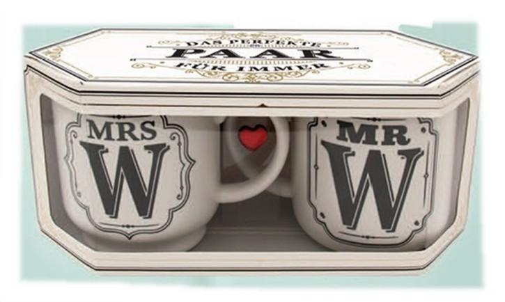 H&H Geschenkverpackung Doppelbox für Becher Serie Mr oder Mrs