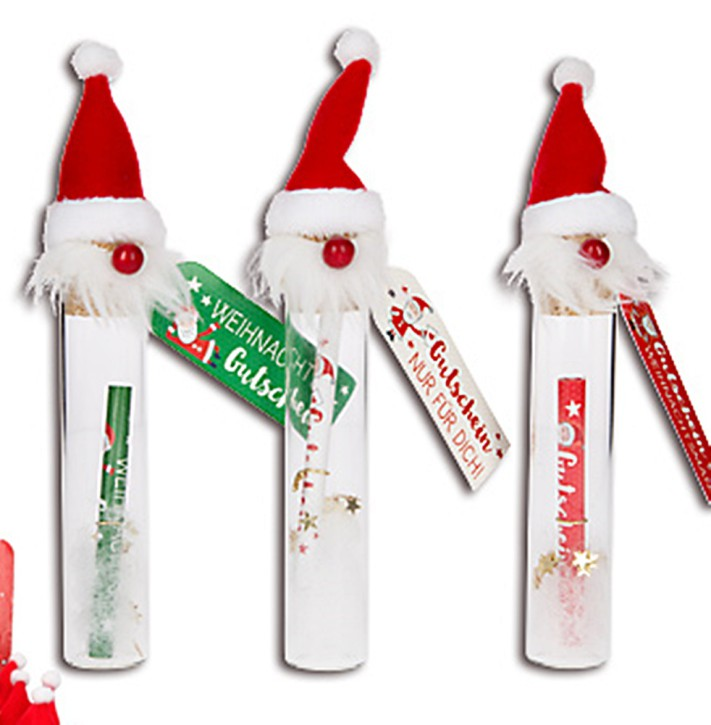 Gutschein im Glas mit Weihnachtsmannmütze und Grußanhänger 1 Glas Text/Motiv sortiert