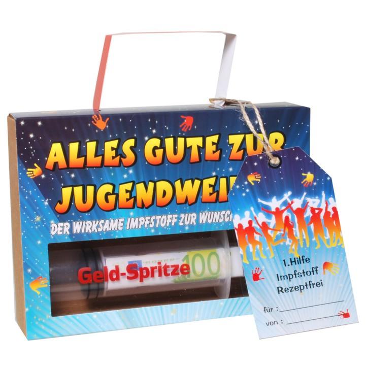 Lustige Geld Spritze Finanzspritze Deko Spritze Geldgeschenke zur Jugendweihe zum Befüllen mit Geld