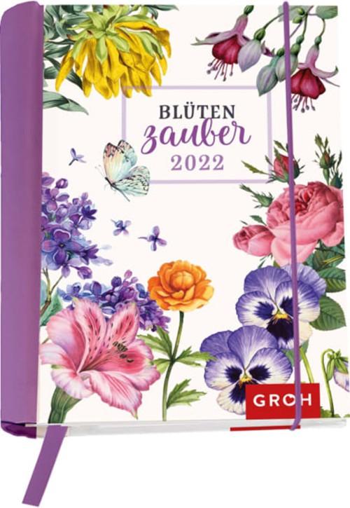 Groh Buchkalender Wochenkalender 2022 Blütenzauber - Terminkalender für die Handtasche mit 12 wunderschönen Postkarten