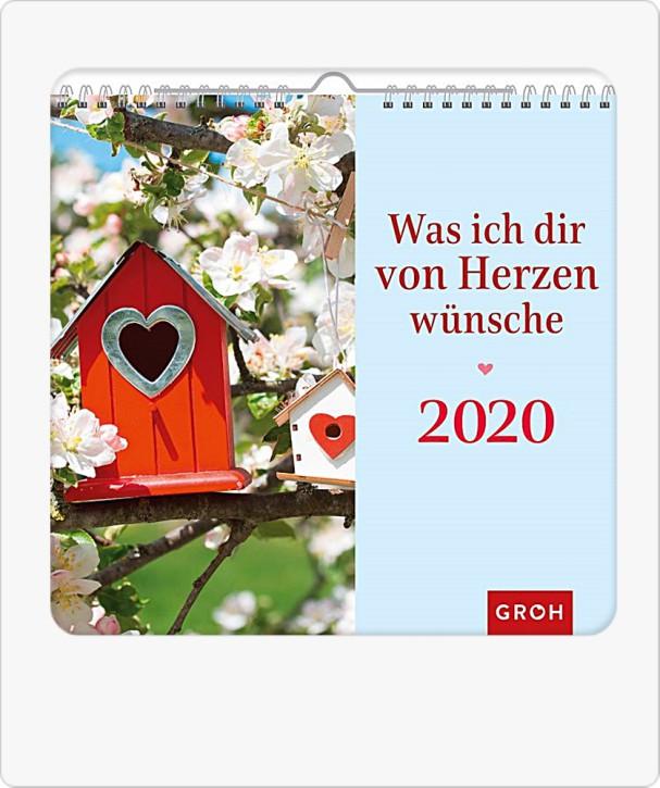 Groh Wandkalender 2020 Was ich dir von Herzen wünsche