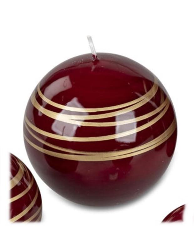 Festliche Kugelkerze 6cm Spirale Farbe rot-gold ca 125g 63,60 EUR Grundpreis 1kg