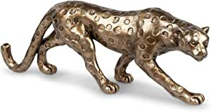 Deko Figur Tierfigur Leopard 37cm Kunststein Farbe antik-gold Model 0771407