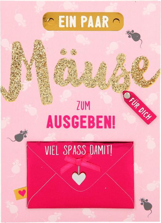 100% Glitzer Geburtstagskarte Anlasskarte Klappkarte10496-032: Ein paar Mäuse zum ausgeben! Viel...