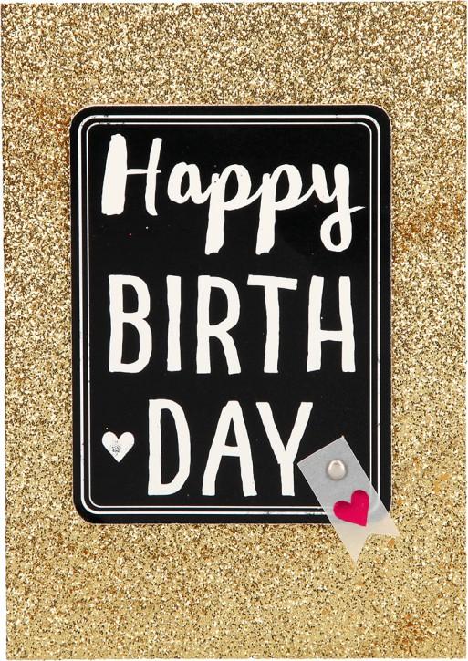 100% Glitzer Geburtstagskarte Anlasskarte Klappkarte10496-036: Happy Birthday