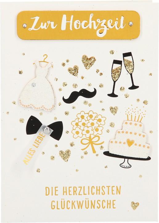 100% Glitzer Geburtstagskarte Anlasskarte Klappkarte10496-046: Zur Hochzeit Die herzlichsten Glückw...