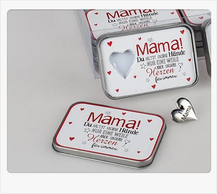 Kleines Metallherz in Dose mit Spruch für Mama