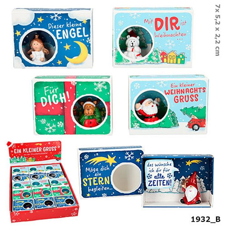 Weihnachtsgeldschachtel 1 Schachtel Gruß und Mini Figur Motiv sortiert