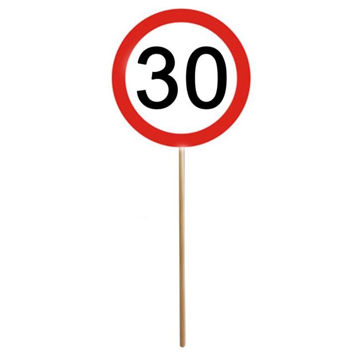 MINI SCHILD mit Stab zum 30. Geburtstag 1 Stück