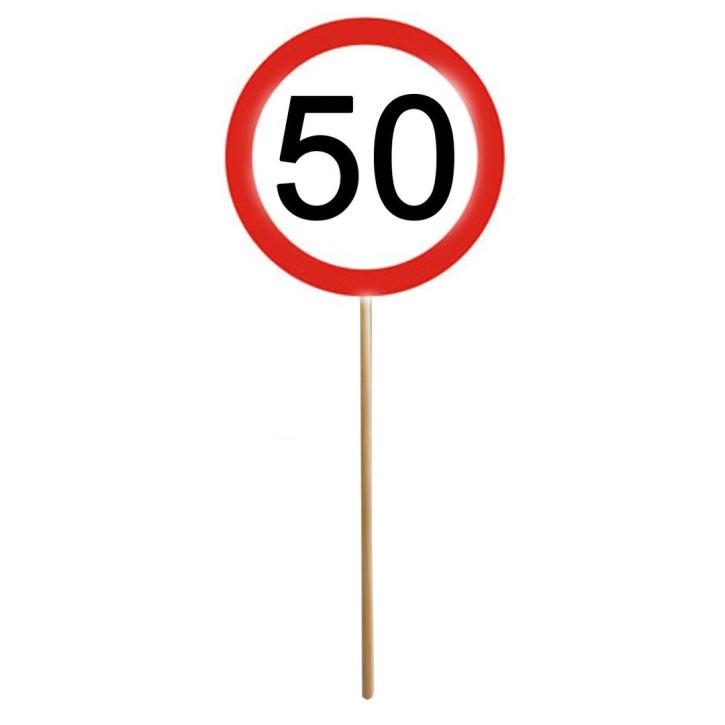 MINI SCHILD mit Stab zum 50. Geburtstag 1 Stück
