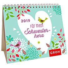 Groh Mini-Kalender 2019 zum Aufstellen Süßer Mini-Kalender für die Schwester
