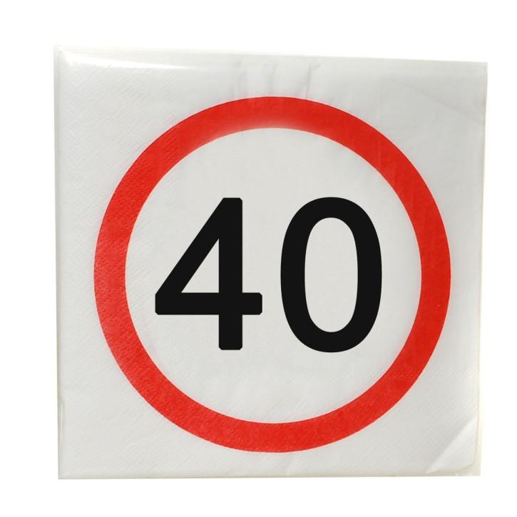 """Servietten """"40"""", 12-tlg. zum 40. Geburtstag"""