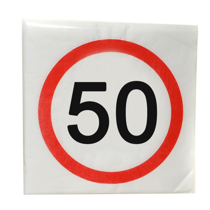 """Servietten """"50"""", 12-tlg. zum 50. Geburtstag"""