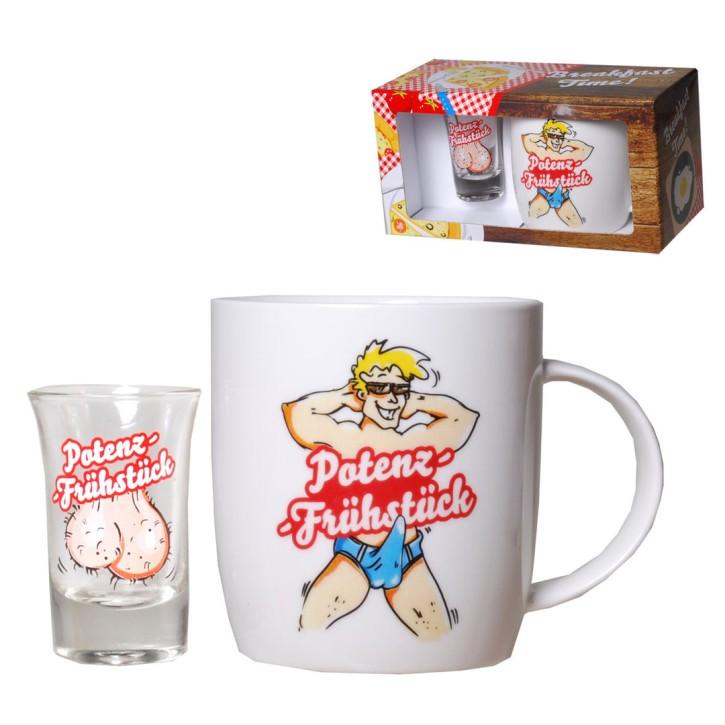 Potenz-Frühstück-Set 2teilig mit Tasse und Schnapsglas