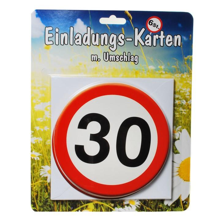 1 Set Einladungskarten mit Umschlag zum 30. Geburtstag