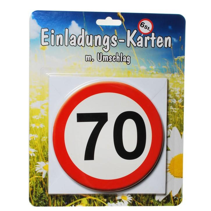1 Set Einladungskarten mit Umschlag zum 70. Geburtstag
