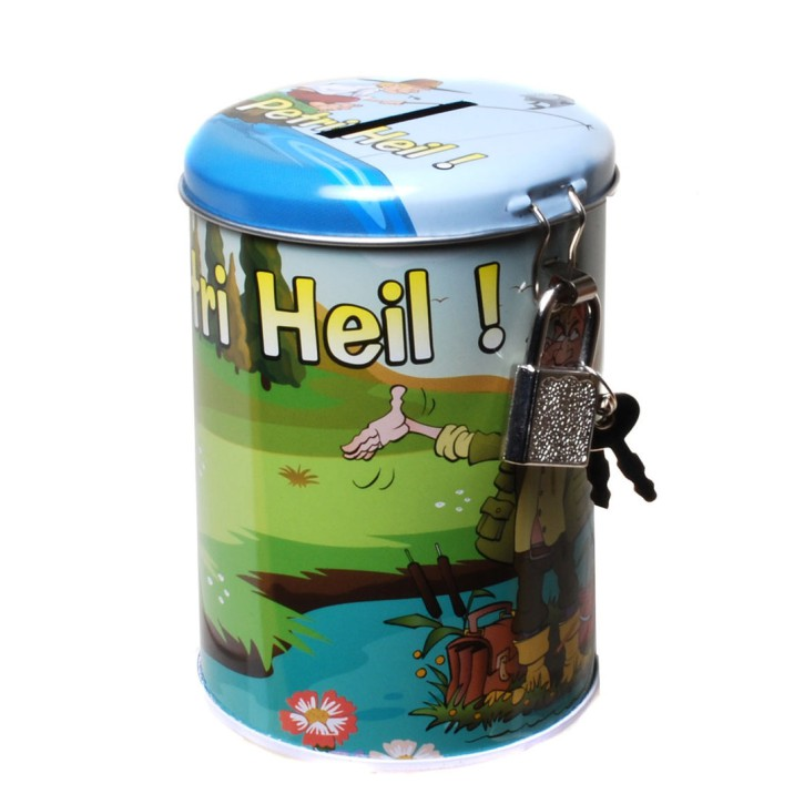 "Spardose für Angler  ""Petri Heil"" aus Metall"