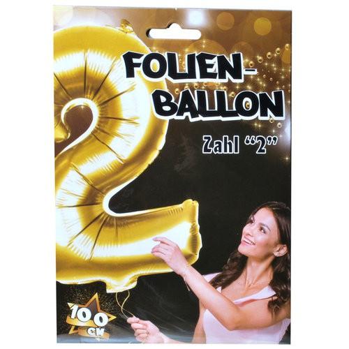 "1  Riesen-Folien-Ballon ""2"", gold  Kunststoff, 1 m"