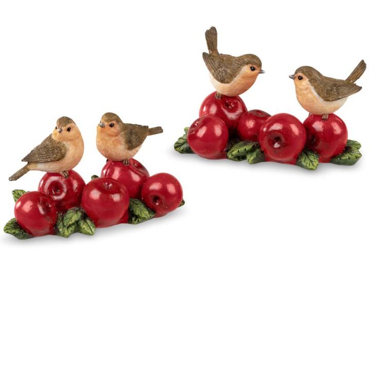 Vogelpaar aus Kunststein 14cm - lustige Dekoration Herbst sortierter Artikel Lieferumfang 1 Stück