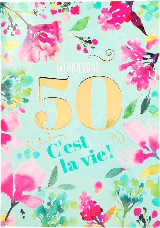 Depesche Portofino Klappkarten Geburtstagskarten 004 - Wunderbar 50 C'est la vie!