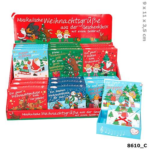 Weihnachten 1x Soundbox mit Geldbriefumschlag für Geldgeschenke sortiert 1 Motiv