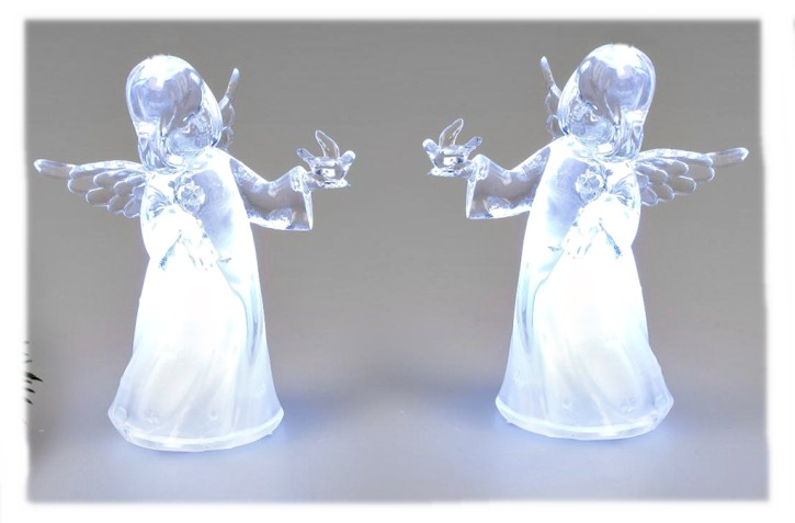 Weihnachtliche Engel-Figur 10cm aus Acryl mit Licht sortierter Artikel Lieferumfang 1 Stück