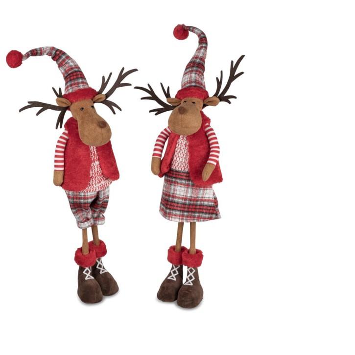 Textil-Figur Elch stehend rot-kariert 19x70cm mit biegsam sortierter Artikel Lieferumfang  1 Stück Mann oder Frau