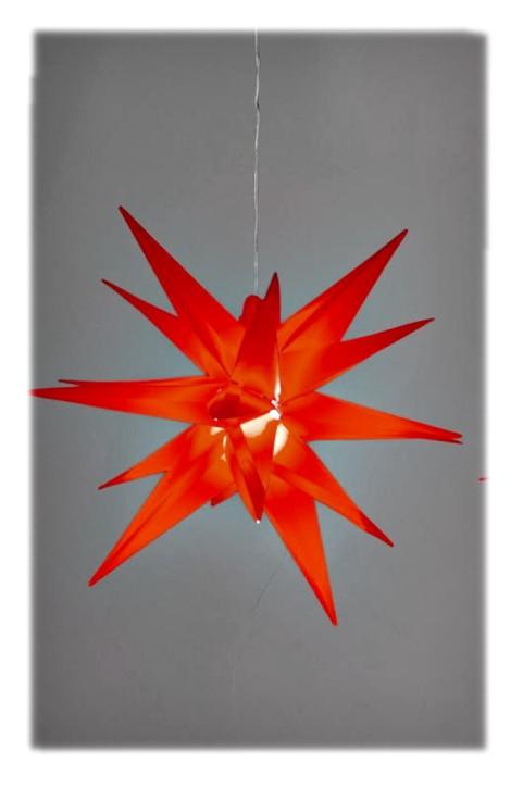 Weihnachtlicher Hänger Deko-Stern rot Hänger-Stern Weihnachtsstern 3D-Optik mit LED-Licht wetterfest 35cm aus PVC