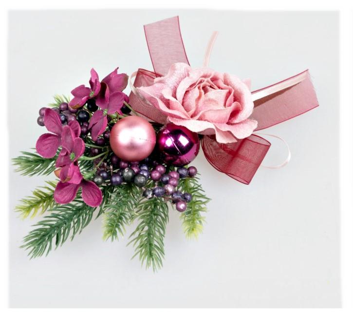 Weihnachtliche Tischdekoration 20cm Rose kleines Sträußchen mit Blüten, Tanne und Kugeln