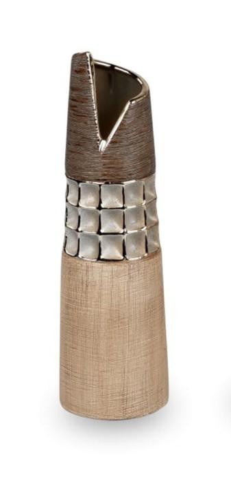 Deko-Vase 9x30cm creme - braun aus Keramik matt