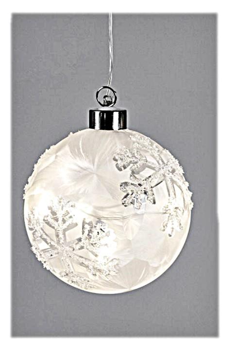 Weihnachtliche Dekoration Hänger Kugel Eiskristall mit LED-Licht und Timer 10cm aus Glas