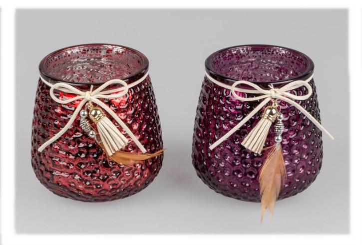 Windlicht Berry sortierter Artikel 10cm aus transparentem Farbglas Lieferumfang 1Stück