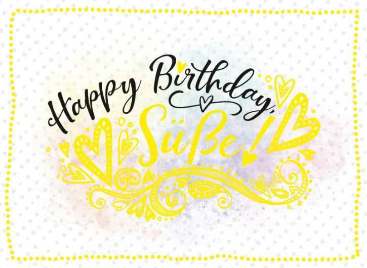 Klappkarten Grüße in Gold 029 Happy Birthday Süße!