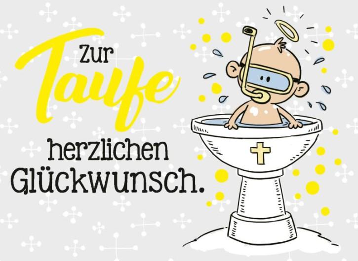 Klappkarten Grüße in Gold 061 Zur Taufe herzlichen Glückwunsch.