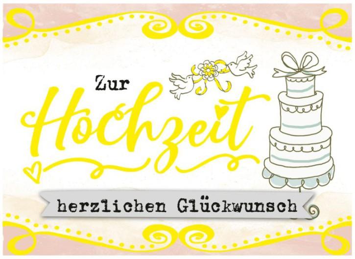 Klappkarten Grüße in Gold 071 Zur Hochzeit herzlichen Glückwunsch