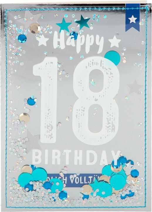 100% Glitzer Geburtstagskarte Anlasskarte Klappkarte10496-002: 18 - Happy Birthday Endlich volljährig!