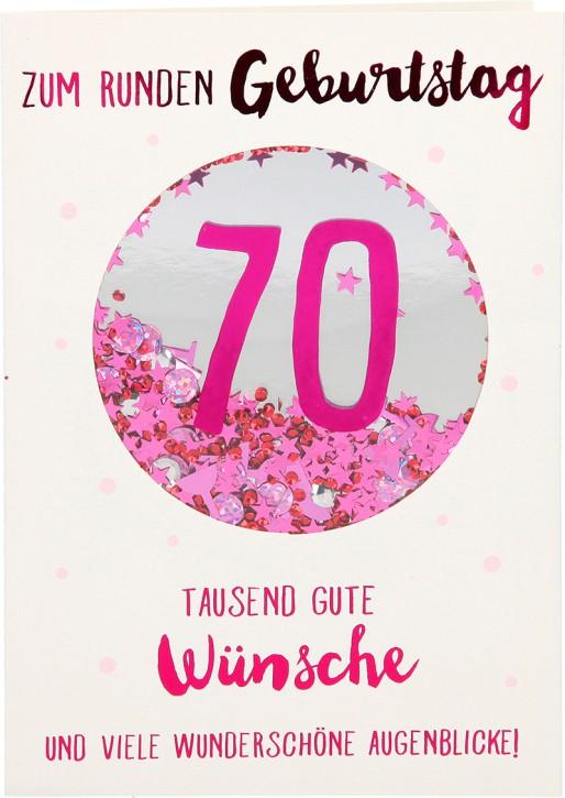 100% Glitzer Geburtstagskarte Anlasskarte Klappkarte10496-011: 70 - Zum runden Geburtstag tausend gute