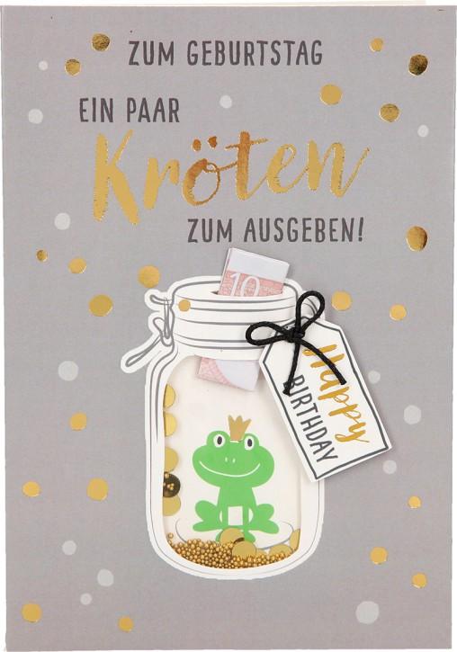 100% Glitzer Geburtstagskarte Anlasskarte Klappkarte10496-015: Zum Geburtstag ein paar Kröten zum ...