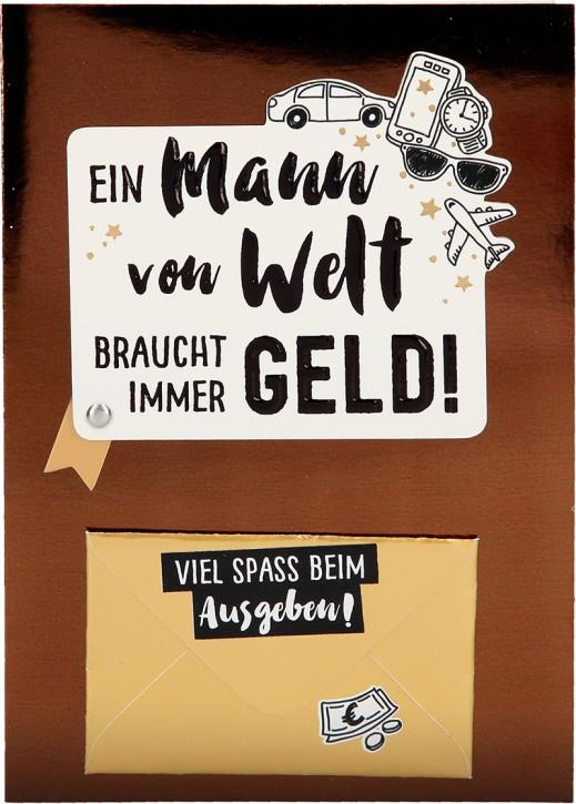 100% Glitzer Geburtstagskarte Anlasskarte Klappkarte10496-018: Ein Mann von Welt braucht immer Geld...