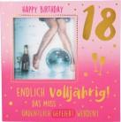 Geburtstagskarte Klappkarte 3D mit Musik & Licht 18 Happy Birthday Endlich volljährig!...