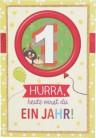 Originelle Klappkarte mit Zahlen Geburtstagskarte Zahlenmotiv zum 1. Geburtstag