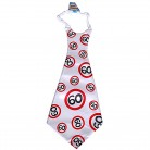 Krawatte mit Zahl 60 zum Geburtstag weiss/rot