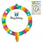 1 FOLIENBALLON bunt 45 cm zum Bekleben oder Beschriften Helium GEEIGNET für Geburtstag Ballon Folie nicht aufgeblasen