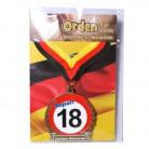 Orden 18 auf Karte zum 18. Geburtstag