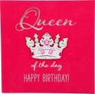 Glamour Glitzer Grußkarte Klappkarte mit Umschlag Queen of the day Happy Birthday  ,quadratisch 029