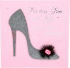 Glamour Glitzer Grußkarte Klappkarte mit Umschlag-  Für eine Frau mit Style die besten ... ,quadratisch 033