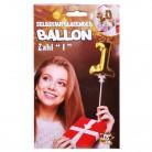 Folien Ballon zum Geburtstag mit Zahl 1 selbstaufblasend Farbe gold