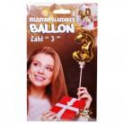 Folien Ballon zum Geburtstag mit Zahl 3 selbstaufblasend Farbe gold