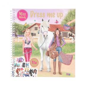 Depesche 11498 Stickerbuch Miss Melody - Dress me up, 24 Seiten und 11 Stickerbögen, ca. 17,8 x 19 cm groß, zum Kreieren toller Outfits für Reiter und Pferd Malbuch